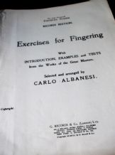 ANTIQUE SHEET MUSIC BOOK RICORDI EXERCISES FINGERING - CARLO ALBANESI PIANO 1907